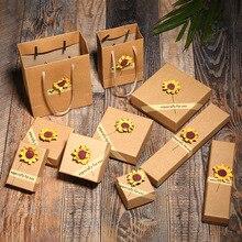12 Pcs/Lot Wholesale Brown Sun Flower Kraft Paper Favour Gift Box/Bag Vintage Design Bulk Jewelry Earrings Pendant Necklace Box hot sale 10 pack lot kraft paper favour gift boxes jewelry set box necklace pendant rings earrings bracelet box