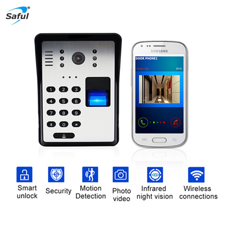 цены на Saful 2018 Wireless Video Door Phone Smart Keypad Wifi Video Intercom System Password Fingerprint Unlock IR Wireless Doorbell