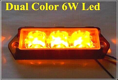 Kétszínű 6 * 3W fényű LED-es autó felületre szerelhető - Autó világítás