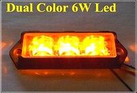 High Quality DC12V 6W Dua Color Led Surface Mount Grille Lightheads Led Strobe Light 10flash Pattern