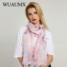 Wuaumx Brand Vintage Viscose Scarf Women Butterfly wings Print Scarfs Wraps Ladies Scarves Shawl foulard femme Hijab merk sjaal