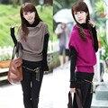 2016 de fashon set 2 mujeres suéteres top para mujer de la camisa + chaleco de suéter suéter prendas de vestir exteriores gris, rojo, khaki, negro, azul, rosa oscuro, verde