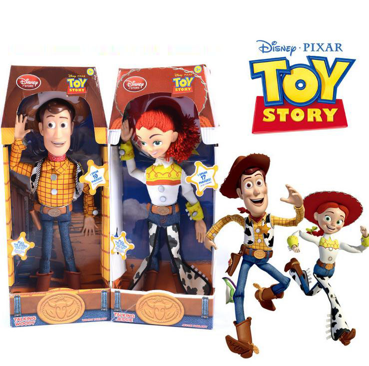 Disney Pixar Toy Story 15 Inch Talking Woody Jessie Pvc Cartoon Action Figure Collectible Model Toy Doll For Kids Gift With Box toy story 3 talking woody jessie pvc action figure collectible model toy doll
