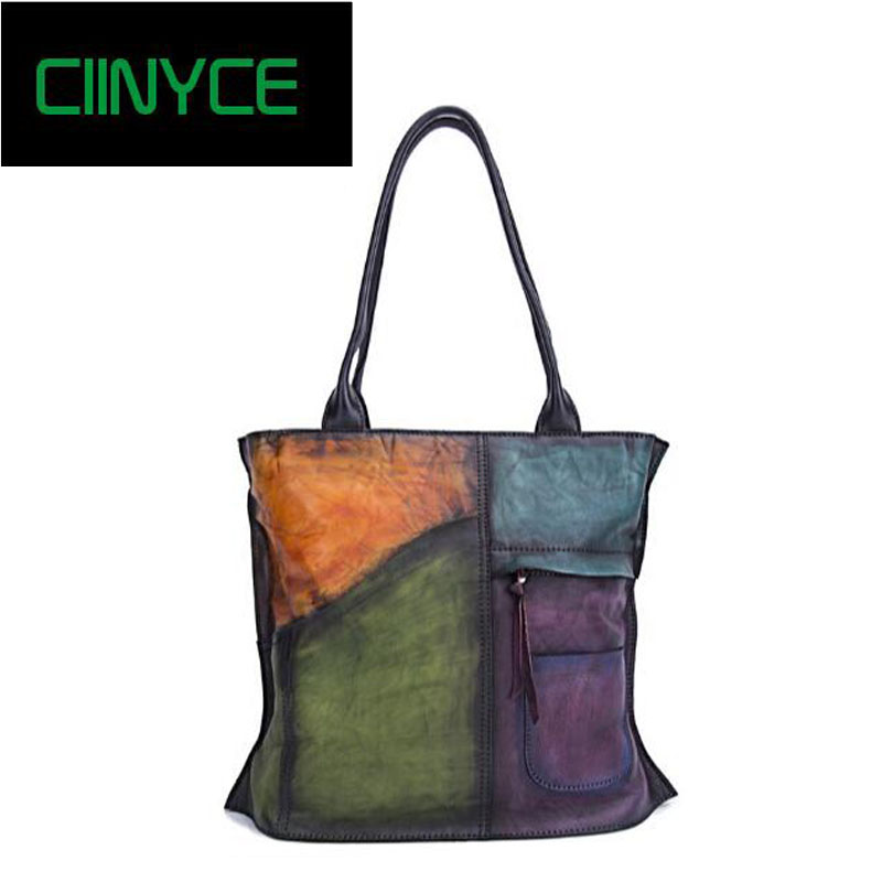 Genuine Vintage Handmade Women Patchwork Handbags Top Handle Panelled Shoulder Large Totes Soft Cow Leather Shopping Bags