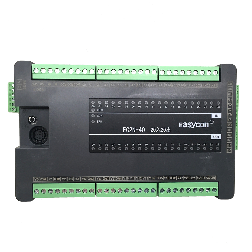 EC2N 40MT 40MR 4AD 2DA Programmable controller for FX2n PLC RS485 fx1n fx2n fx3u 40mt 24di 16do 2ad 2da analog for plc rs485 modbus 4 axis high speed pulse 100khz output stepper motor