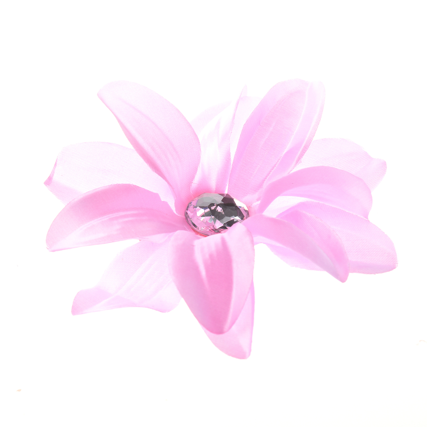 Rhinestone Lily Flower Hair Clip For Lady Girls Light Pink In Hair