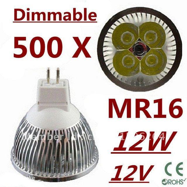 500pcs Dimmable LED High power MR16 4x3W 12W led Light led Lamp led Downlight led bulb spotlight FREE FEDEX and DHL