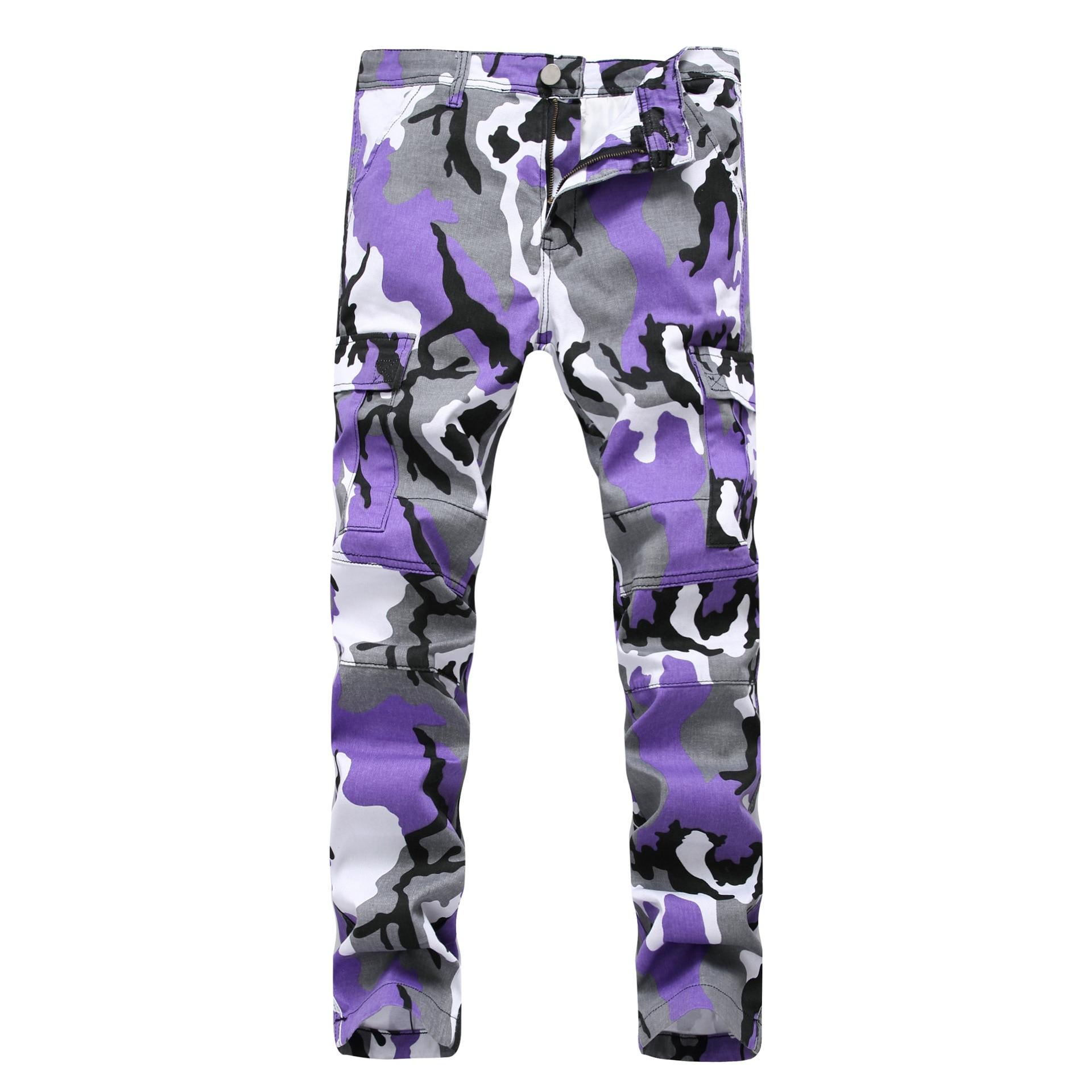 2018 Brand mens stretch jeans white Jeans Pants men slim Elastic camouflage pants Long trousers Streetwear Joggers Sweatpants