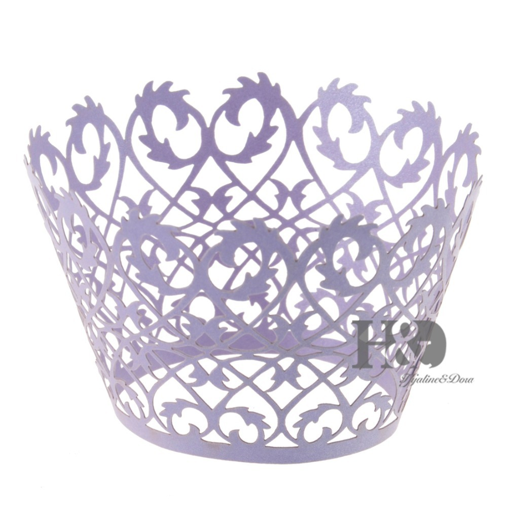 120pcs Laser Cut Hollow Violet Vine Butterfly Cupcake Box Wrappers ...