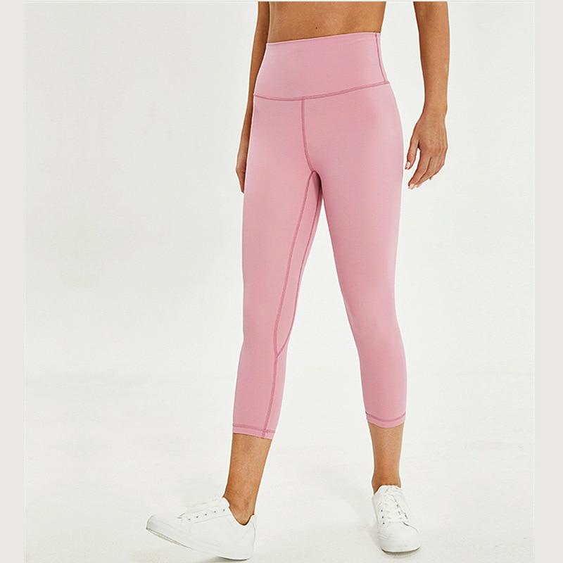 Naked Feel Gym Yoga Capri Leggings Women 7/8 Fitness Crop Tight Pants Soft Nylon Running Capri High Rise Sports Workout Leggins
