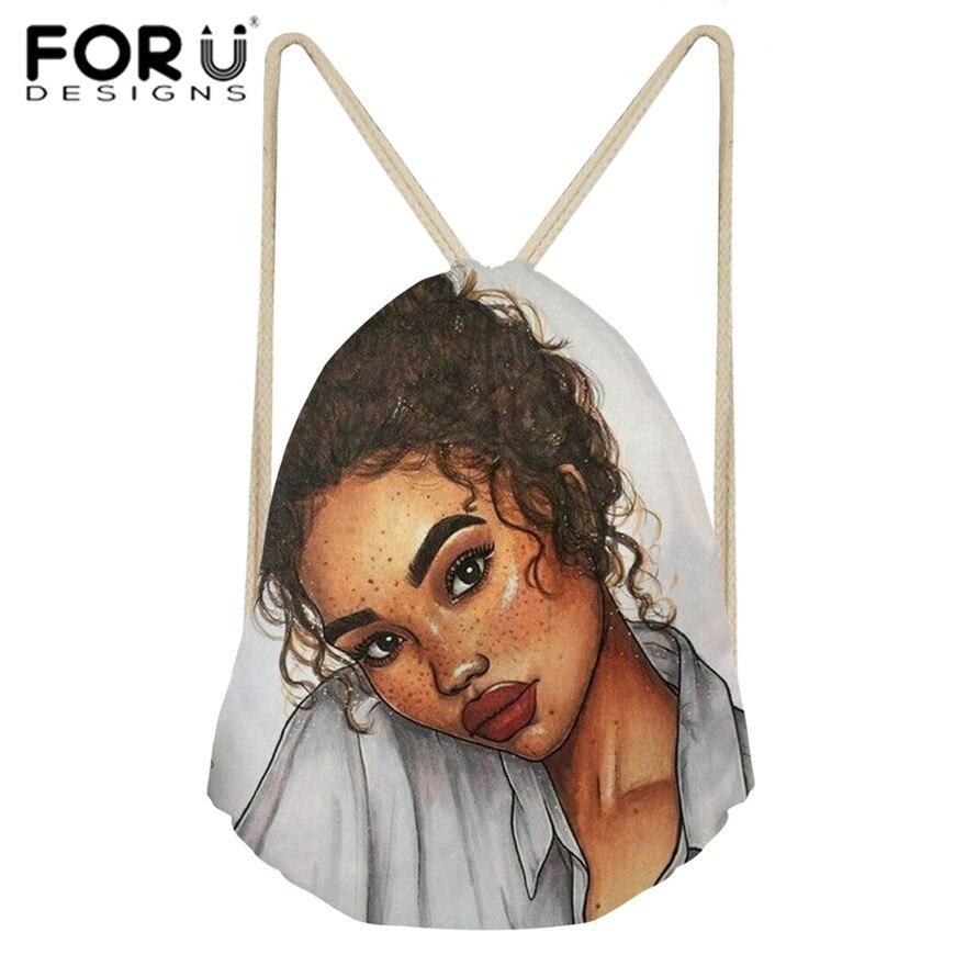 FORUDESIGNS Drawstring Bags For Women Black Art African Girls Printing Beach Bag Ladies Mini String Bagpack Children Book Bags