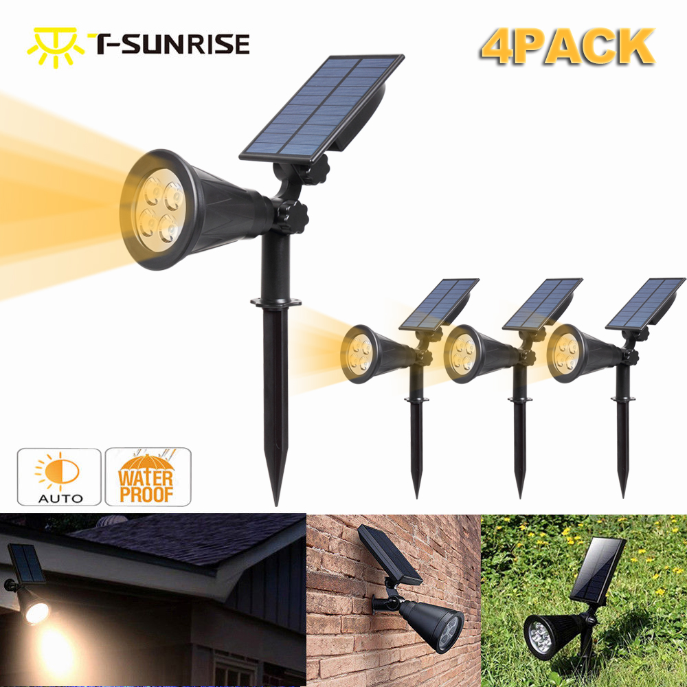 T-SUN 4 Pack Solar LED Outdoor Spotlight Wall Light IP65 Waterproof Adjustable for Tree Patio Yard Garden Driveway(Blue-4)