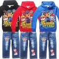 Dog Paw printed cartoon set boys hoodie cotton Sweatshirts jackets kids Dog Long-sleeved hooded T Shirt and Jeans suit