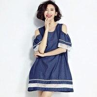 De las nuevas mujeres fashiong algodón denim tops hombro mini off dress para Las Mujeres 2017 Más El Tamaño de Corea Moda pagoda manga jean dress