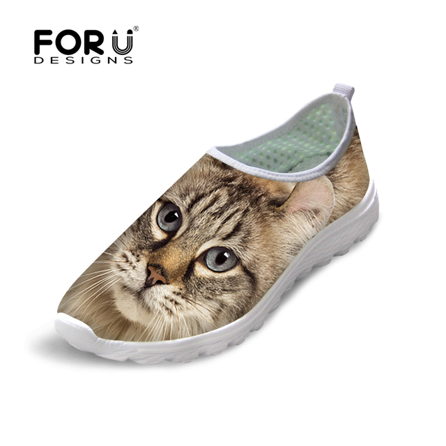 FORUDESIGNS Casual Women Shoes Animal Cat Owl Print Mesh Shoes Breathable Shoes Zapatillas Deportivas Female Slip-on Flats Shoes