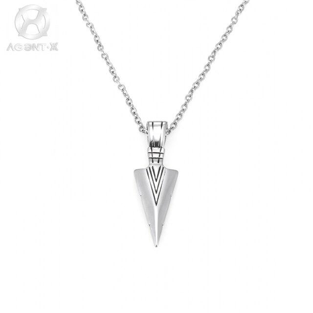cf40054976a9 AgentX Medalla de Plata Flecha Colgante Elegante Collar de Largas Cadenas  de Acero Colar Masculino Mens