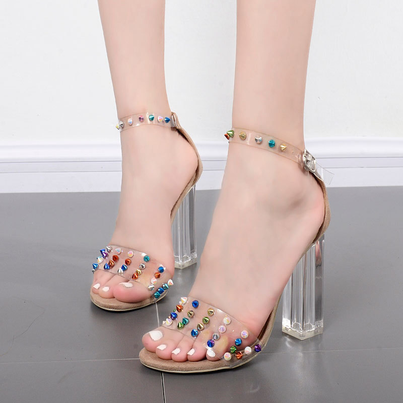 sandals women transparency film diamond high-heeled shoes buckle crystal with large size peep-toe fish mouth shoes купить в Москве 2019