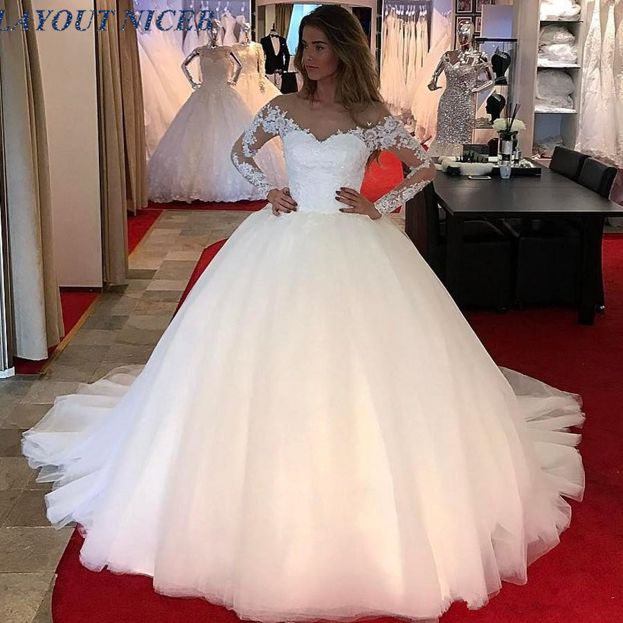 Off the Shoulder Long Sleeves Ball Gown Wedding Dress with Beads Sequins Puffy Wedding Gown Corset Back Modest Bridal Dresses
