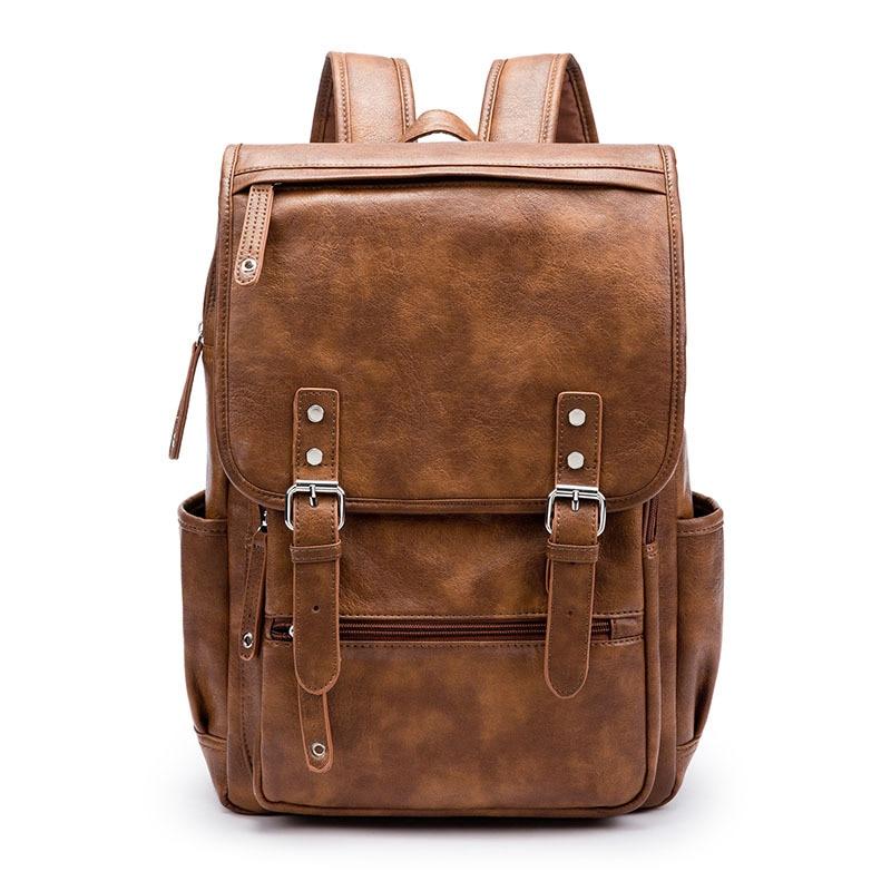 Designer Men PU Leather Backpack Vintage Daypack Multi Pocket Casual Rucksack Vintage Handmade Tote