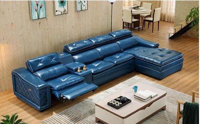 Living Room Sofa L shape corner feather sofa recliner electric couch genuine leather sectional sofas muebles de sala para casa