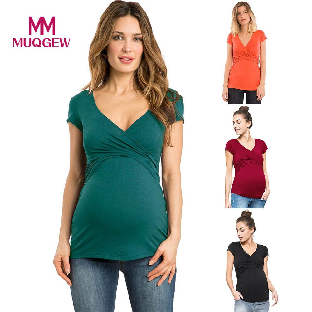 4deb9c304d5 2018 New Maternity clothes t shirt Women Solid Pregnant Nursing Baby Maternity  tees Multifunctionl Blouse T-Shirt for Summer