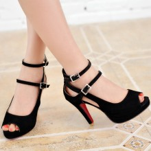 Big Size 32-43 Fashion Party Red Sole Shoes Woman Sexy Red Bottom High Heels Summer Pumps Ankle Strap Sandals Women Shoes