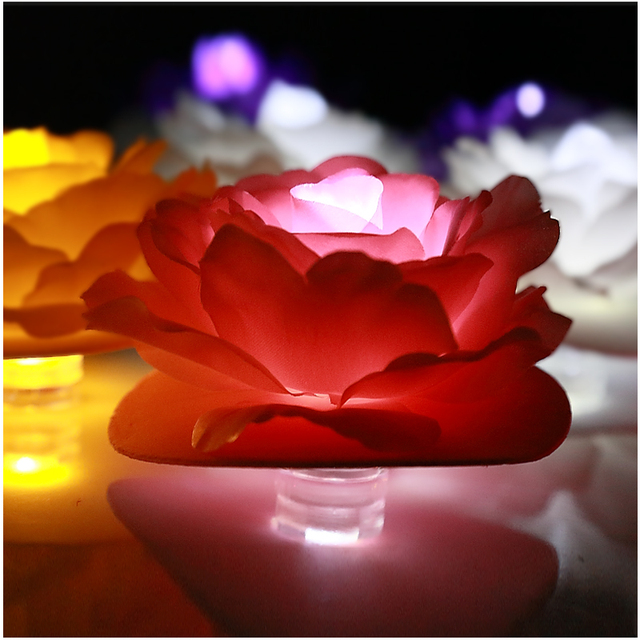 4pcs. Romantic LED Waterproof Fabric Red Rose Decoration Candle Lights Wedding Valenting Proposal Props Festive Party Supply