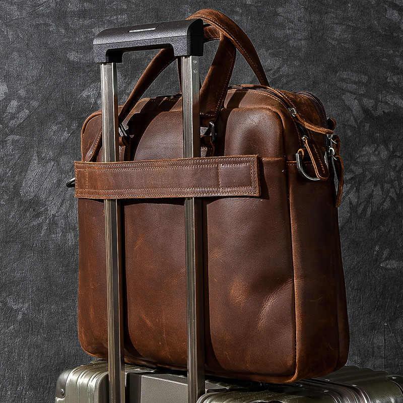 AETOO maletín de cuero para hombre Retro Crazy Horseskin bolsos bandolera bolsos de cuero para ordenador portátil