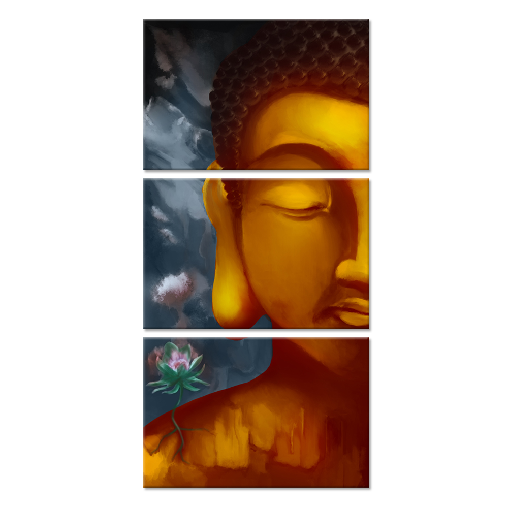 3 Pieces Religious Canvas Wall Art Buddha Head Portrait Painting Abstract Buddhist Zen Flower Canvas Print For Home Living Room