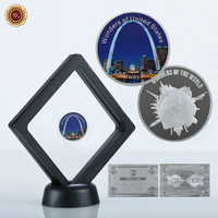WR Gateway Arch Wonders of United States Silver Commemorative Coin US Famous Scenery Challenge Coin with Black Stand for Gifts