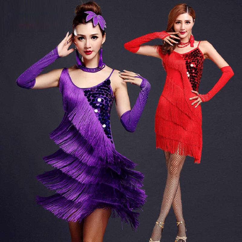 Latin Dance Costumes Women Salsa Dancewear Dance Costume Dresses Ballroom Competition Dresses Tango Adult Fringe Gold Sequin