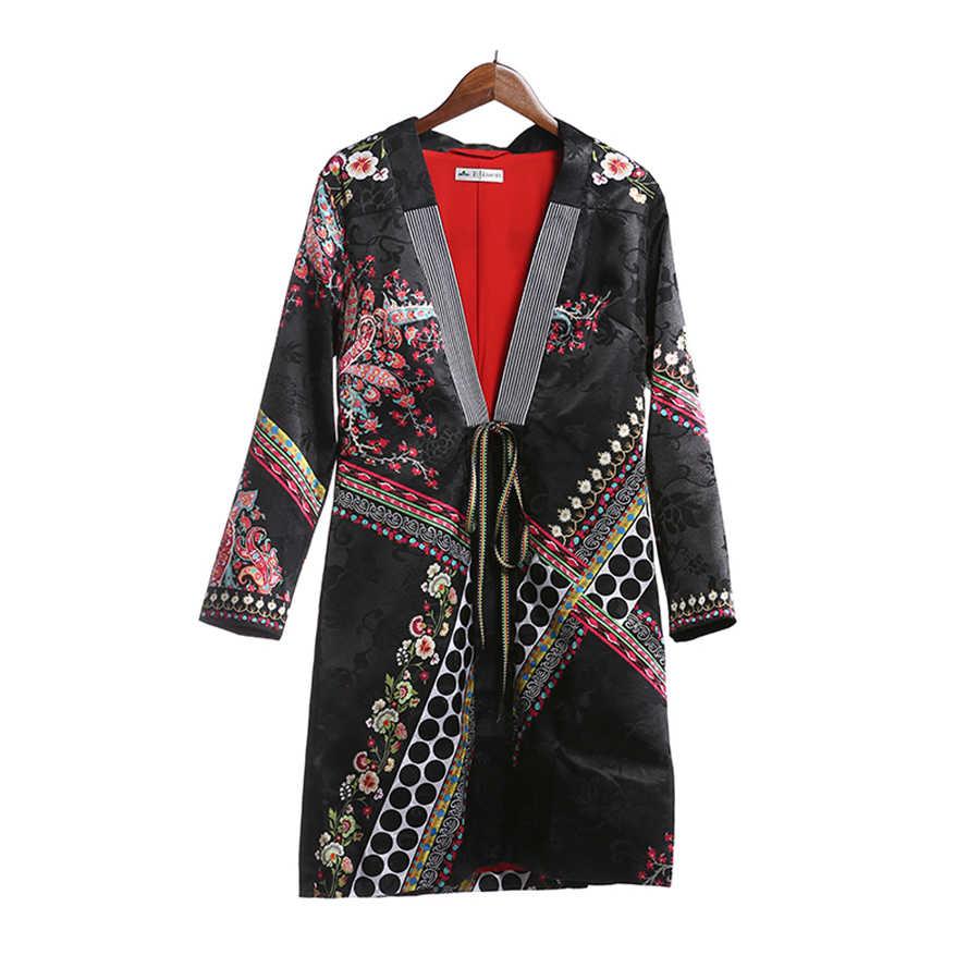 Bohème Hippie femmes Trench 2017 automne ethnique mode rayé col châle à pois cravate avant dames Jacquard Long manteau