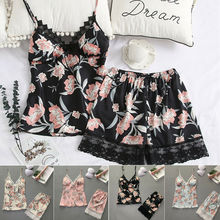 2pcs/set Women Sexy Satin Lace Sleepwear Babydoll Lingerie Nightdress P