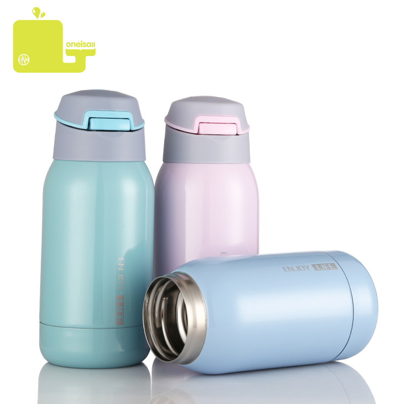 Oneisall 260ml Stainless Steel thermos Bottle Belly Cup Vacuum Flask Coffee Tea Water Bottles Cartoon Cute mug for Children Kid in Vacuum Flasks Thermoses from Home Garden