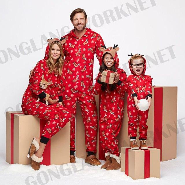 66b8c90ebd Winter Warm Family Matching Cute Deer Printing Christmas Hoodie 3D Deer  Ears Pajamas PJs Sets Xmas Sleepwear Nightwear