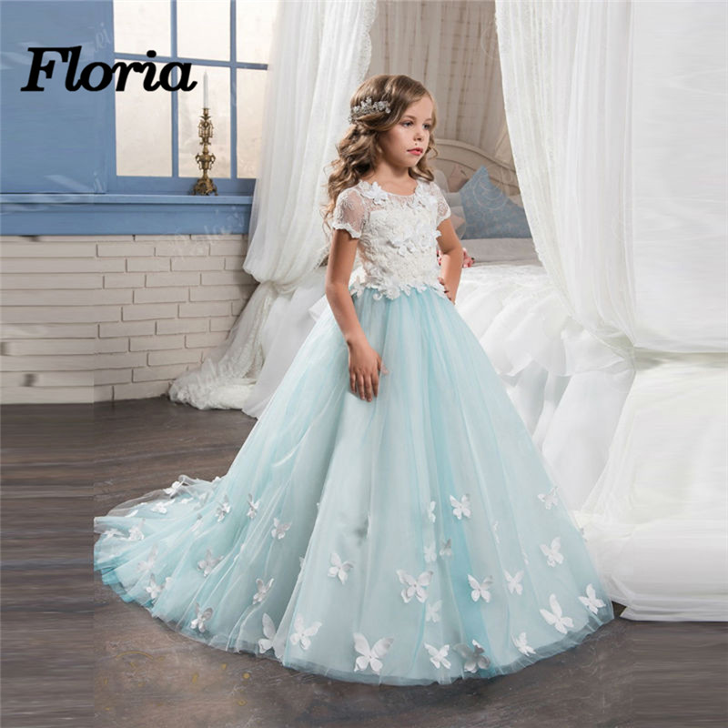 Blue Butterfly   Flower     Girl     Dresses   For Weddings Lace Sleeveless First Communion   Dresses   For   Girls   With Train 2018 Vestido Longo