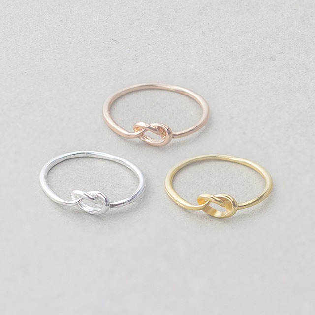 Minimal Minimalist Heart Knot Rings For Women Men Gold Silver Color Vintage Midi