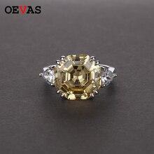 Oevas高炭素ダイヤモンドの結婚指輪 100% S925 シルバー作成モアッサナイト婚約パーティーファインジュエリー