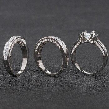100% 18K White Gold Diamond Ring Set for Women Men Anillos Three piece Bizuteria Gemstone 18k Gold Diamond Jewelry Wedding Rings 3