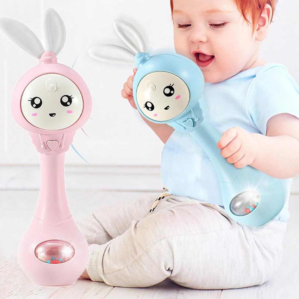 New Shaking Rattle Baby Hand Bell Music Light Rhythm Induction Teeth Grinder Toy