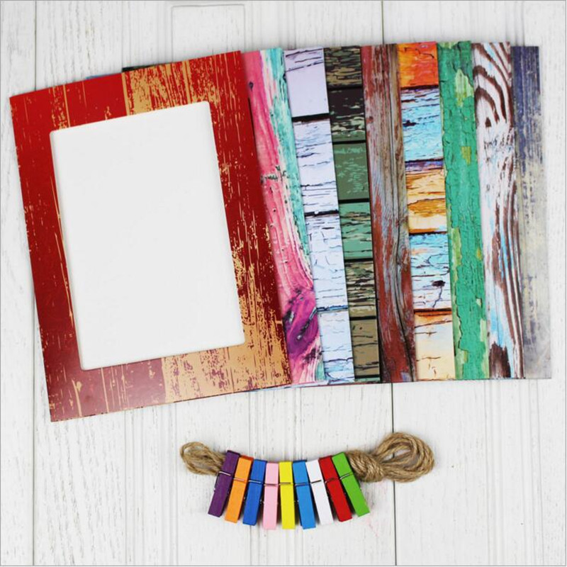 9pcs/lot Wood Grain Wall Paper Photo Frame 7 inches Home Decor Wall Picture Album Hanging Rope Wooden Clip