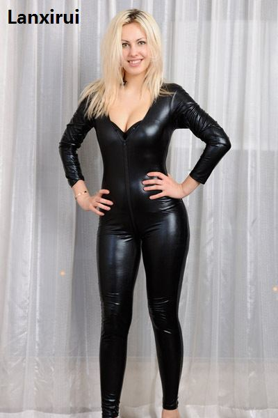 S -Xl Plus Size 2018 New Women Black Faux Leather Jumpsuit Open Front Sexy Bodycon Catsuit Bodysuits