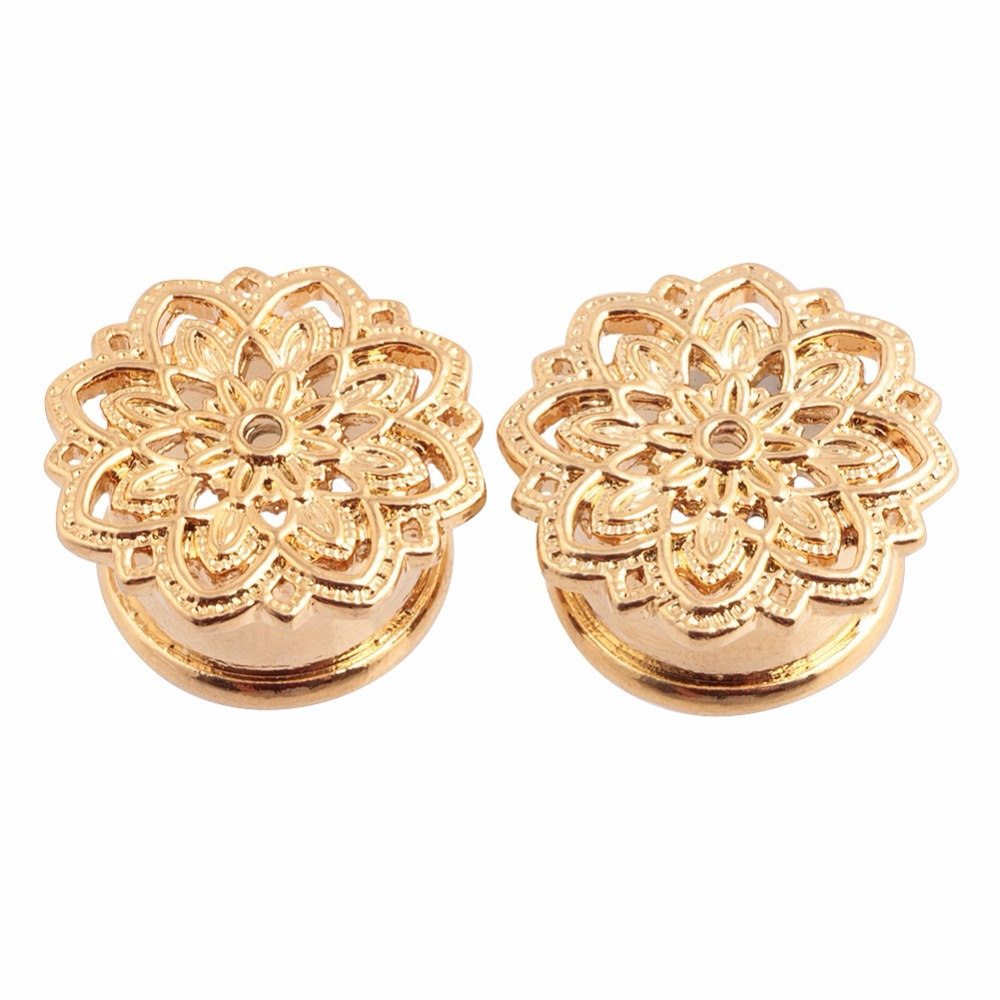 2pcs gold copper tribal lotus flower plugs ear tunnel gauges 2pcs gold copper tribal lotus flower plugs ear tunnel gauges piercing ear stretchers single flared 10mm 12mm 14mm 16mm jewelry in body jewelry from jewelry izmirmasajfo Images