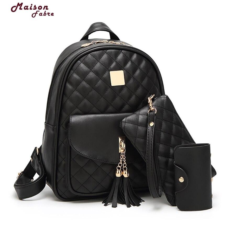 3pcs set Small Bear Pendant Girls Schoolbag PU Tassel Women Backpack Double Zipper Women Bag Vintage
