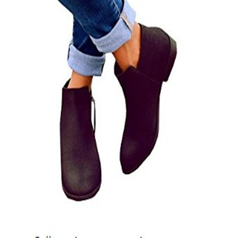 Estilo Plus black Boot Tamaño Xingdeng Fiesta Beige Oficina Tobillo Mujeres Botas Plataforma Punta La Plano Zapatos 35 Inglaterra De Señoras 43 Martin 1p4gwqZ