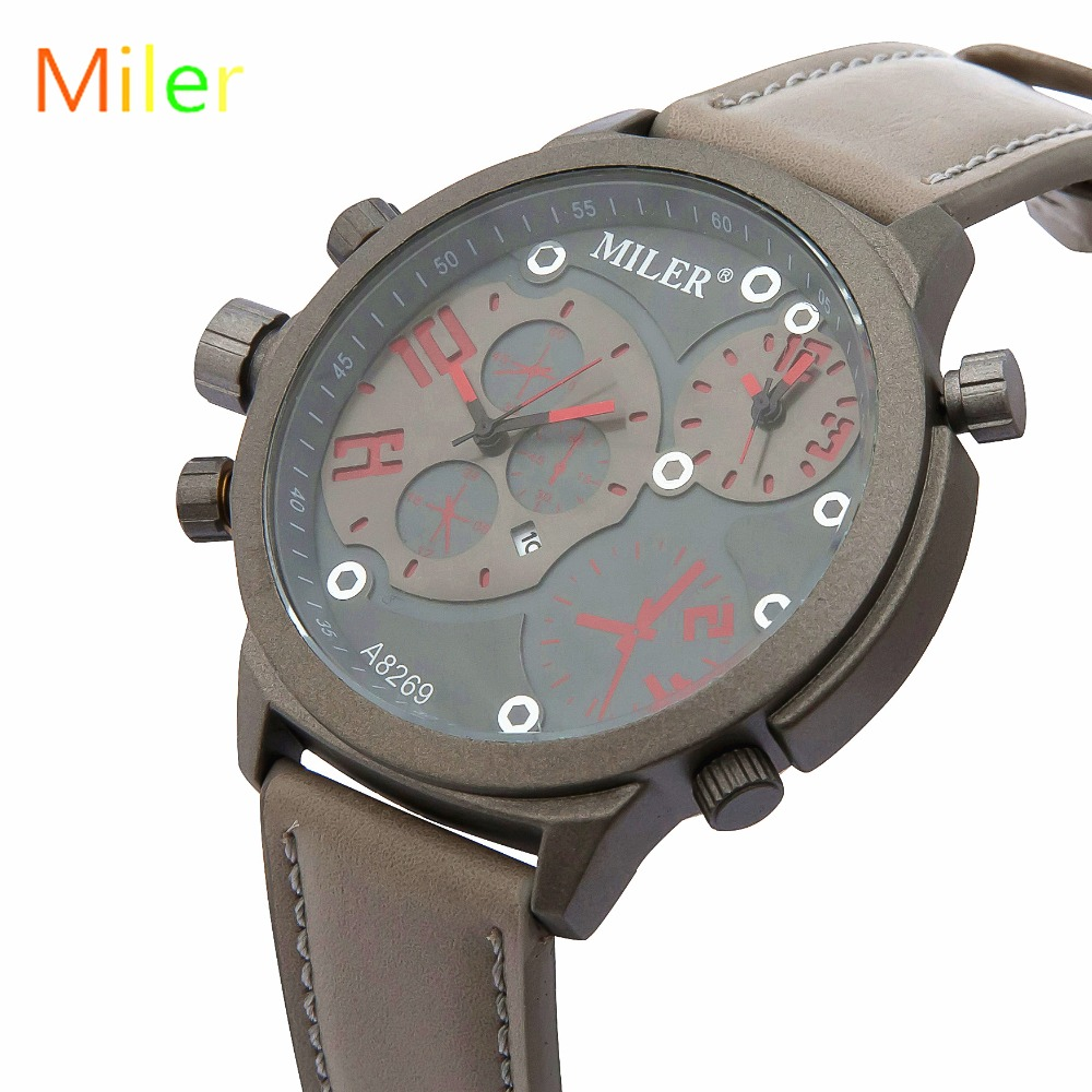 MILER New Fashion Men Watch Double movement Leather Strap Quartz Male Wristwatches Relogio Masculino Montre Homme