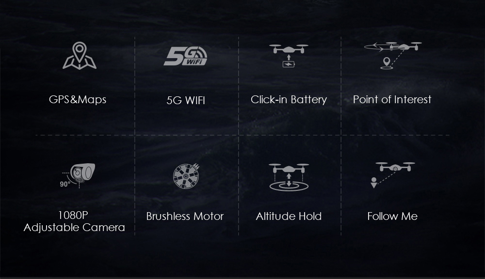 JJRC JJPRO X5 RC Drone 5G WiFi FPV Drones GPS Positioning Altitude Hold 1080P Camera Point of Interesting Follow Brushless Motor 2