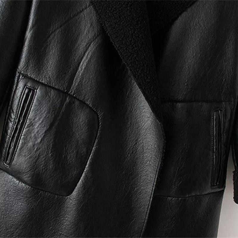 Frauen Herbst Winter Lamm Kaschmir PU Leder Jacken Lange Große Größe Dicken Lammfell Strickjacke Oberbekleidung Mäntel Plus Größe W214