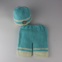 Handmade Crochet Knitted Baby Photo Props Newborn Photography Baby Boy Cotton Hats Beanies And Pants Newborn