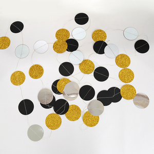 Image 4 - 4M 57pieces Party Banners Streamers Confetti Silver Black Gold Glitter Circle Polka Dots Graduation 2019 Paper Garland Banner